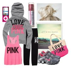 """""""Roadtrip!"""" by qtpiekelso ❤ liked on Polyvore featuring Victoria's Secret, Victoria's Secret PINK and NIKE"""