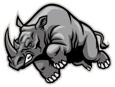 Charging rhino vector art illustration