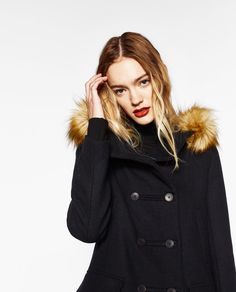 WOOL DUFFLE COAT WITH FAUX FUR HOOD-View all-OUTERWEAR-WOMAN | ZARA United States