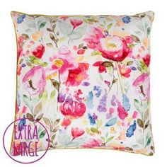 Giant Devon Floor Cushion bean bag by Fi Douglas of bluebellgray - a Scottish textile design company. Watercolour floral design inspired by an English country garden. Cushion Fabric, Printed Cushions, Floral Bedding, Bluebellgray, Stylish Pillows, Pillows, Luxury Flooring, Floor Cushions, Reclaimed Wood Furniture