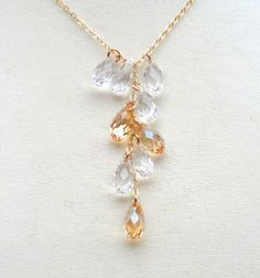 Golden Shadow And Clear Crystal Gold Filled  by Alwaysabridesmade, $50.00