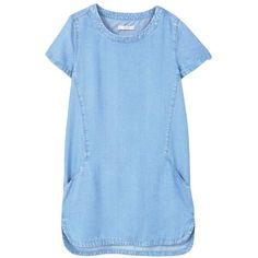 Soft Denim Dress ($45) ❤ liked on Polyvore featuring dresses, short-sleeve dresses, asymmetrical hem dress, short sleeve denim dress, denim dress and mango dresses