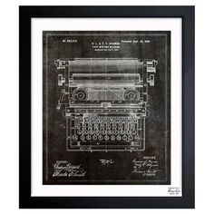 A nostalgic touch for your living room or den, this handsome print showcases a typewriter-inspired patent drawing motif and sleek black frame. Made in the US...
