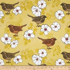 Birds and Blooms Birds and Blooms Yellow from @fabricdotcom Designed by Mitzi Powers for Benartex, this cotton print collection is perfect for quilting, apparel and home decor accents. Colors include black, rusty orange, shades of yelow, white and brick.