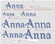 amorevitacrocette: nome Anna a punto croce