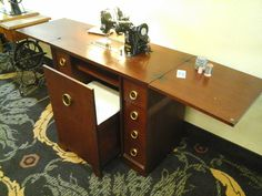 Pfaff 130-50010 in Cabinet with pull-out chair, restored by Stagecoach Road Vintage Sewing Machine