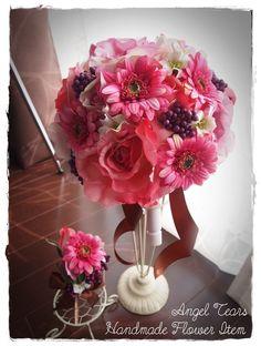 【ラウンドブーケ】ピンク×パープル ガーベラのブーケ♪