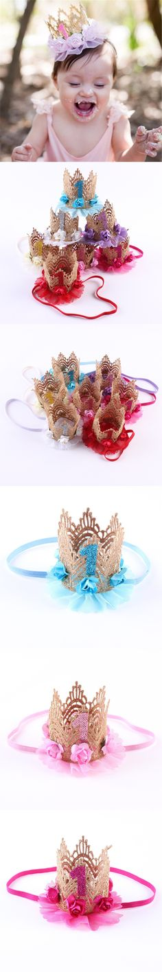 Newborn Mini Felt Glitter Gold Lace Crown with Lace Flowers Headbands For Baby Girls 1st Birthday Party DIY Hair Accessories