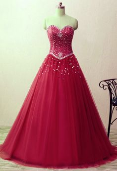 Sweetheart crystal beaded dress, satin tulle floor length ball gown prom,quinceanera dresses.red dresses.BD170541