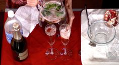 Virgin Pomegranate and Cranberry Bellinis  from Giada de Laurentiis