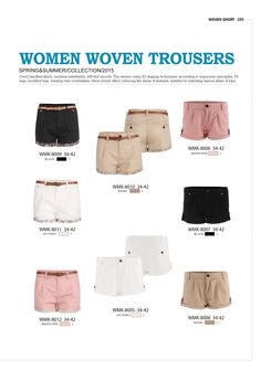 Woven trousers for Women by Glo-Story  #forwomen #clothing #fashion #glostory #pink #babyblue #vowentrousers #white #denim #shorts