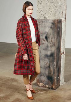 Tartan coats with neutral mix at Rosetta Getty Pre-Fall 2016. <winter classic: plaid> style.