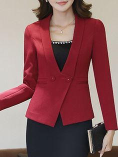 V-Neck Plain Long Sleeve Blazer – CheapClothingCity… You Will Enjoy fashion outfits With These Useful Tips Women's Clothes At Wholesale Women S Fashion During The Blazer Outfits, Blazer Dress, Blazer Fashion, Skirt Outfits, Casual Outfits, Fashion Outfits, Casual Blazer, Sleevless Blazer, Fashion Top