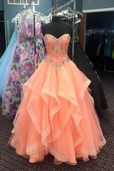 4d12eae4efed Coral Prom Dress,Organza Quinceanera Dresses,Ball Gown Quinceanera Dresses,Sweet  16 Dresses,Ruffles Beaded Prom Party Dress With Corset Back
