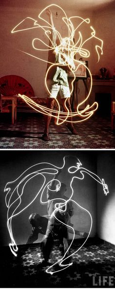 Picasso e fotógrafo Gjon Mili - light paint … Light Painting Photography, Motion Photography, Dark Photography, Abstract Photography, Night Photography, Picasso Light Painting, Picasso Paintings, Gjon Mili, Light Trails