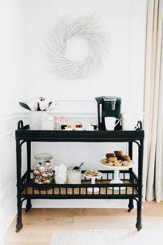 farmhouse open shelf unit as a coffee bar instead of a cart!