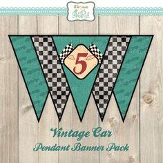 CUSTOM Vintage Car Pendant Banner Package by ShopLittlePaperStars, $6.00