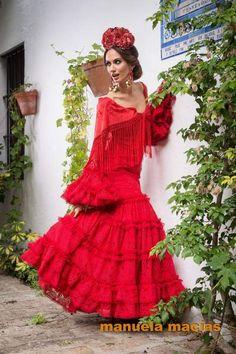 Vestido de flamenca rojo de Manuela Macías