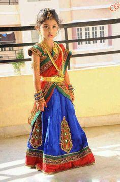 INdian Girls Picture in Half saree Kids Saree, Kids Lehenga Choli, Sarees, Indian Baby Girl, Indian Girls, Dresses Kids Girl, Kids Outfits, Baby Dresses, Party Outfits