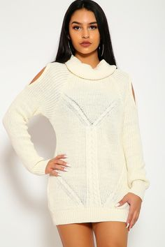 26fa4a80d15 Sexy Off White Turtle Neck Long Sleeves Casual Sweater