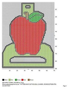 Big apple towel holder Cross Stitch Charts, Cross Stitch Designs, Cross Stitch Patterns, Plastic Canvas Crafts, Plastic Canvas Patterns, Canvas Door Hanger, Sara Foster, Fuse Beads, New Crafts