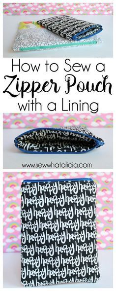 How to Sew a Lined Zipper Pouch: This tutorial will show you step by step how to sew a lined zipper pouch. Zippers aren't scary! Click through for the full tutorial. | http://www.sewwhatalicia.com