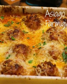 Asiago Meatball Parmigiana with Garlic Roasted Broccoli - The Chunky Chef