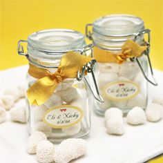 Personalized Glass Favor Jars (Set of 12) Sale Price: $1.38 (15% off) (wedding) (bridal shower) (baby shower) (graduation) party favors #personalized