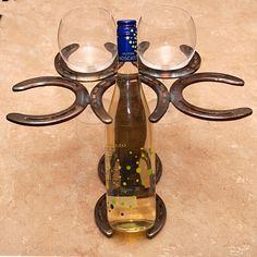 Wine Bottle Holder with room for 4 glasses on Etsy, $29.99