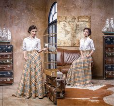 Long plaid beige skirt. Color as an picture.Om the last photo you can see fabric. Width belt- 8cm Full length skirt - 115cm