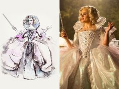"Cinderella's Costumes: Everything You Want to Know | LIGHT UP THE NIGHT | Helena Bonham Carter played the Fairy Godmother, whose task of transforming Cinderella into a princess seemed easy when compared to Powell's task of making the Godmother's gown light up. ""Oh my God. This might not work,"" Powell worried at the time. Spoiler alert: It turned out quite magical, but ""we should have just done a simple dress."""