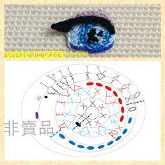 Lace crochet pattern of amigurumi eye by Sculpturingface Free pattern please follow her on fb https://www.facebook.com/pages/Sculpturingface/719392761465122?pnref=lhc