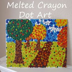 Melted crayon to make a pointillism painting.