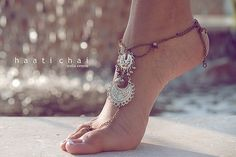 Foot anklet with toe ring. Foot thong.