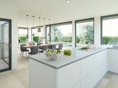 Küche Ansicht 1 Open Plan Kitchen, Kitchen Dining, House Extension Design, Modern Architecture House, Japanese Interior, Good House, House Extensions, Cuisines Design, Küchen Design