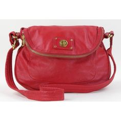 Marc by Marc Jacobs Red Leather Totally Turnlock Natasha Shoulder Bag- $149 #moshposh