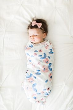 Organic cotton swaddle blanket in Blue and Pink Watercolor Flowers - Roses, Peonies in Pink on Blue Leaves