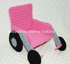 I created this lovely wheel chair pattern for a crochet doll that was given to a little one that was in a wheel chair. Please use this pattern, but DO NOT resell the pattern as your own.