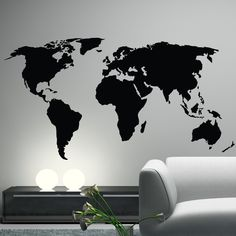 Office Decor. World Map Wall Decal Sticker World Country Atlas the whole world Vinyl Art. $34.99, via Etsy.
