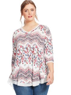 Floral Chevron Top by American Rag Available in sizes 1X-3X
