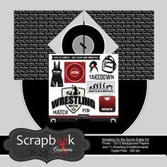 Wrestling Digital Scrapbooking. Instant Download by ScrapbookCustoms, $4.00