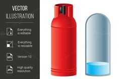 Red butane gas cylinder by @Graphicsauthor