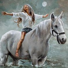 All Things Pure Original Fine Art Painting by Maria Magdalena Oosthuizen. Medium: Acrylic on Canvas. Stretched, and Blocked, Not Framed. Prophetic Art, Bible Art, Horse Art, Beautiful Horses, Beautiful Artwork, Canvas Art Prints, Collages, Art Drawings, Original Art