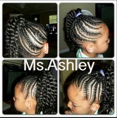2-Size Cornrows & Thick Twist Side Ponytail