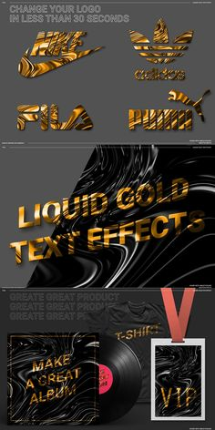 About the Product LIQUID GOLD TEXT EFFECT Change in a few seconds your text or logo to give a nice gold effect. FEATURE Photoshop CC SMART OBJET DISPLACEMENT MAP Organize Layer & FOLDER High resolution 4000×4000px ELEMENTS INCLUDED : 00_MAIN_LIQUID_GOLD.psd 01_image_TO_CHANGE.psd 02_DISPLACEMENT_GOLD_v1.psd 10 BONNUS LIQUID GOLD TEXTURE JPG Logo Design Trends, Blog Design, Web Design, Websites Like Etsy, Nike Gold, Liquid Gold, How To Make Tshirts, Text Effects, Gold Texture