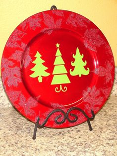 Christmas Tree Charger Decorative Plate READY TO by TooSweetTees,