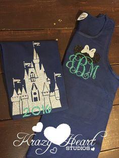 Castle Disney Tank - Minnie Ears Monogram - Navy and Mint Glitter Vinyl - Comfort Color - Disney Shirt - Castle Monogram