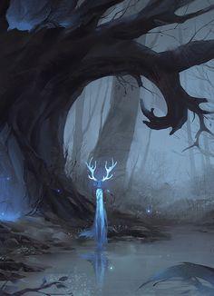 51 Enigmatic Forest Concept Art That Will Amaze You – Juliane Völker Dark Fantasy Art, Fantasy Kunst, Fantasy Artwork, Dark Art, Art Anime, Anime Kunst, Fantasy Creatures, Mythical Creatures, Dark Creatures