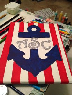 Initial anchor monogram canvas painting I painted :)