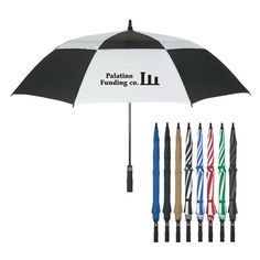 """Classic umbrella design with arc vented windproof canopy construction. Fiberglass shaft and ribs with EVA handle. Automatic open. Umbrella has an arc of 58"""" and closes to 39""""."""